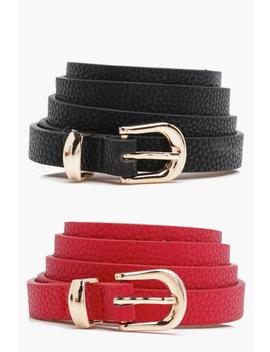 Skinny Belts 2 Pack by Boohoo