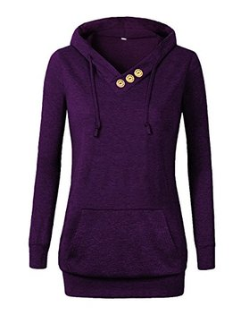 Othyroce Women's Long Sleeve Button V Neck Pockets Sweatshirts Pullover Hoodies by Othyroce