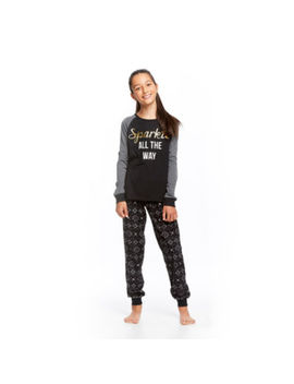 Holiday #Famjams Black And Grey Fairisle 2 Piece Pajama Set   Girls by Holiday #Famjams
