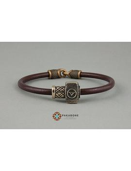 Viking Bracelet With Bronze Bead Thor's Hammer 000 945 by Etsy