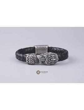 Viking Bracelet With Jormungandr   Leather Wristband  With Ouroboros Art. 001 263 by Etsy