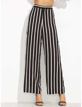 Vertical Striped Wide Leg Pants by Shein