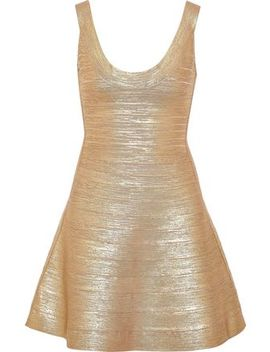 Eva Metallic Bandage Mini Dress by HervÉ LÉger