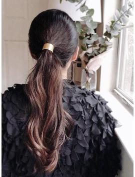 Ponytail Holder   Ponytail Jewelry   Bun Holder   Hair Cuff   Brass Pony Tail Cover   Gold Ponytail Cuff   Metal Elastic Hair Tie by Etsy