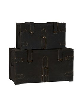 Household Essentials G.O.T. Wooden 2 Pc. Set Standard Trunk, Black by Household Essentials