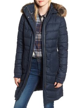 Foreland Quilt Mix Coat With Detachable Faux Fur Trim by Barbour