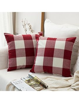 Miulee Pack Of 2, Classic Retro Checkers Plaids Cotton Linen Soft Soild Christmas Decorative Square Throw Pillow Covers Home Decor Design Set Cushion Case For Sofa Bedroom Car 18 X 18 Inch 45 X 45 Cm by Miulee