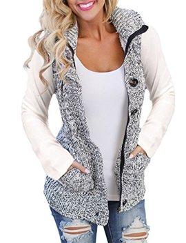 Sidefeel Women Hooded Sweater Vest Knit Cardigan Outerwear Coat by Sidefeel