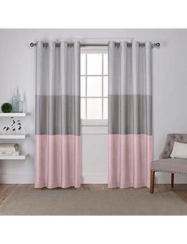 Exclusive Home Curtains Chateau Grommet Top Panel Pair, Blush, 54x96, 2 Piece by Amazon