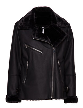 Faux Fur Biker Jacket by Mango