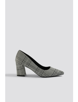 Checked Block Heel Pumps by Na Kd Shoes