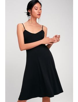 Twirl For You Black Midi Skater Dress by Lulus