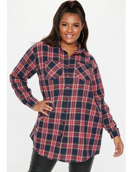 Plus Size Navy Oversized Check Shirt by Missguided