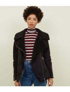 Black Faux Shearling Biker Jacket by New Look