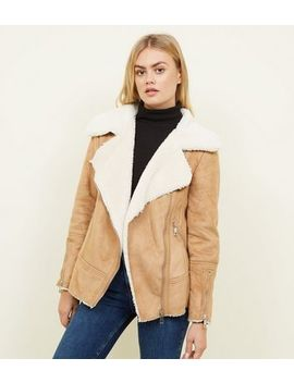Tan Faux Shearling Biker Jacket by New Look