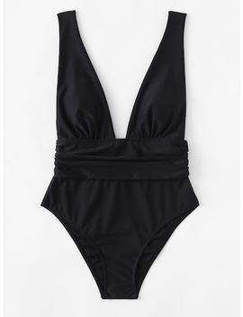 Plus Ruched Waist Plunging Swimsuit by Shein