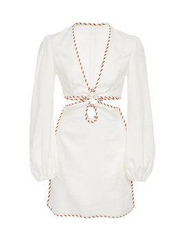 Braid Trimmed Cutout Linen Mini Dress by Zimmermann