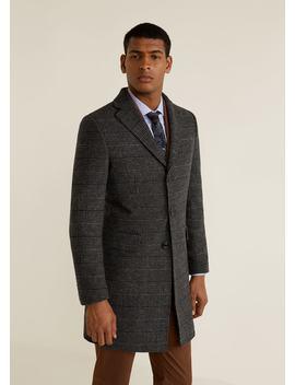 Płaszcz Tailored Z Wełny W Kratę by Mango