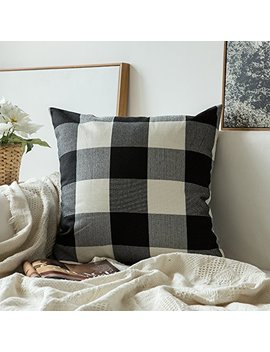 Miulee Classic Retro Checkers Plaids Cotton Linen Soft Soild Decorative Square Throw Pillow Covers Home Decor Design Cushion Case For Sofa Bedroom Car 18 X 18 Inch 45 X 45 Cm by Miulee