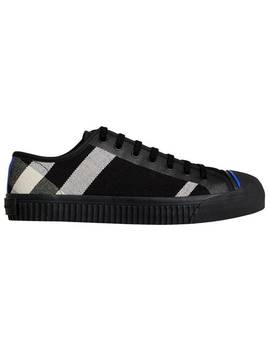 Canvas Check And Leather Sneakers by Burberry
