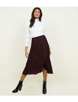 Burgundy Snake Print Wrap Midi Skirt by New Look
