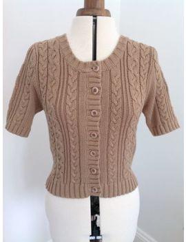 "Womens 36 38"" Uk12 Short 'atmosphere' Short Sleeved Cardigan Chunky Knit by Ebay Seller"