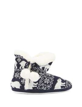 Reindeer Fair Isle Bootie Slippers by Forever 21