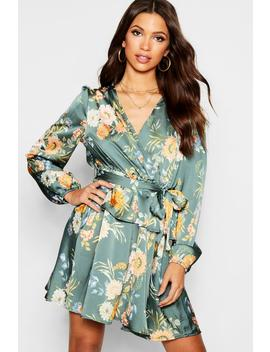 Floral Print Wrap Ruffle Skater Dress by Boohoo