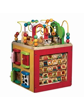Battat – Wooden Activity Cube – Discover Farm Animals Activity Center For Kids 1 Year + by Battat