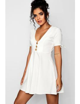 Mock Horn Button Detail Woven Tea Dress by Boohoo