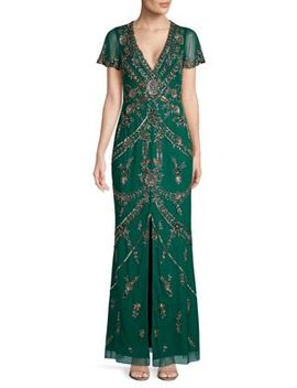 Short Sleeve Beaded Gown by Aidan Mattox