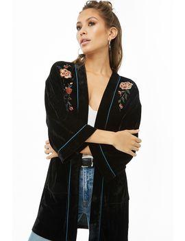 Floral  Embroidered Velvet Kimono by Forever 21