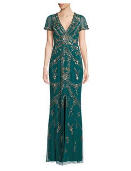 V Neck Split Flutter Sleeve A Line Beaded Evening Gown W/ Center Front Slit by Aidan Mattox