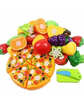 Kunmark Kitchen Toys Fun Cutting Fruits Vegetables Pretend Food Playset For Children Girls Boys Educational Early Age Basic Skills Development 24pcs Set by Kunmark