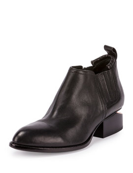Kori Leather Lift Heel Ankle Boot, Black by Alexander Wang