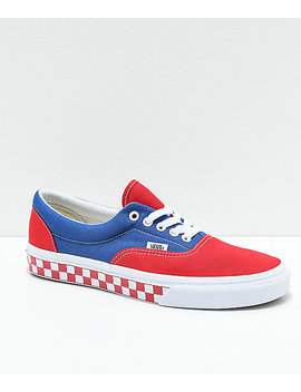 Vans Era Bmx Red, White And Blue Checkerboard Skate Shoes by Vans