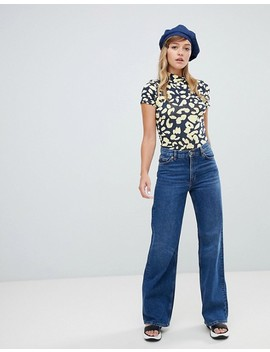 Monki Wide Leg Jeans In Mid Blue by Monki