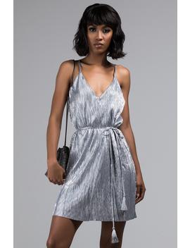 Brand New Bae Metallic Pleated Mini Dress by Akira