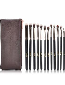 Msq Eyeshadow Brushes 12pcs Rose Gold Eye Make Up Brush Set With Bag (Pu Leather Pouch) Soft Natural Hairs For Eyeshadow, Eyebrow, Eyeliner, Blending   Rose Gold by Msq