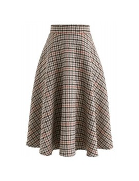 More Of You Houndstooth Tweed Skirt by Chicwish