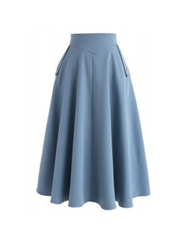 Classic Simplicity A Line Midi Skirt In Blue by Chicwish