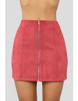 Farrah Faux Suede Skirt   Wine by Fashion Nova