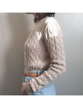 American Apparel Jumper S 8 10 Beige Cream Fisherman Cable Knit Sweater Nude by Ebay Seller