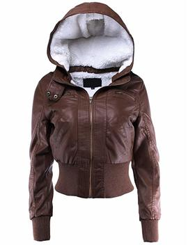 Ladies' Code Women's Fur Lined Sherpa Faux Leather Jacket W/Detachable Hood by Ladies' Code