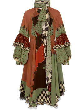 Asymmetric Printed Silk Georgette Midi Dress by Etro