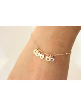 Tiny Initial Bracelet, Rose Gold Bracelet, Sister Gift For Mom, Delicate Bracelet , Dainty Bracelet, Gift For Grandma, Personalized Gift by Etsy