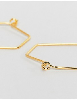 Asos Design Sterling Silver With Gold Plate Hoop Earring In Oval Design by Asos Design