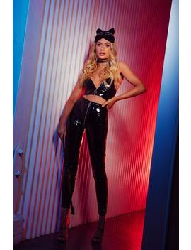 Madison Latex Zipper Front Pants   Black by Meshki