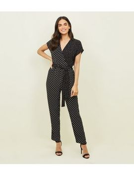 Black Mixed Spot Print Wrap Jumpsuit by New Look