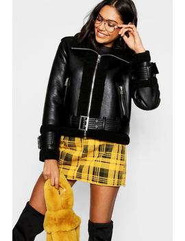 Borg Trim Belted Flying Jacket Borg Trim Belted Flying Jacket by Boohoo